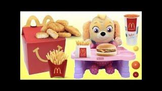 Paw Patrol BABY SKYE Eats a Mcdonalds Happy Meal