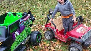 Grave Digger 24volt VS. Jeep 12v VS. Small leaf pile