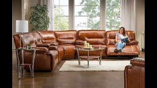 Leather Sectional Sofa with Power Recliner