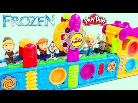 Disney Frozen Characters Visit Play Doh Mega Fun Factory Playset to Open Magic Surprise Toys!