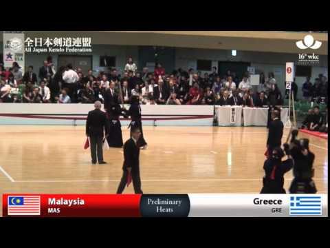(MAS)Malaysia (4)1 - 3(7) Greece(GRE) - 16th World Kendo Championships - Men's Team