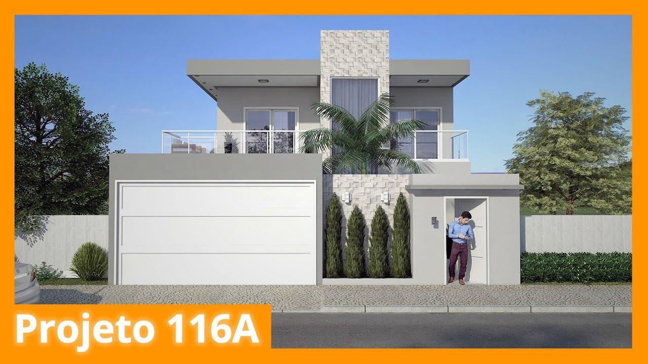 Planta de sobrado moderno com 3 quartos 116a doovi for Design moderno casa contemporanea con planimetria