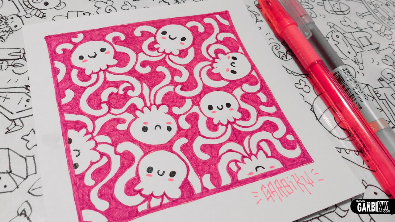 Cute jellyfishes how to draw patterns for your doodles for Cute easy patterns to draw