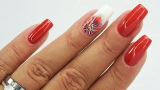 Autumn flower / Charbonne #flowersnails #rednails