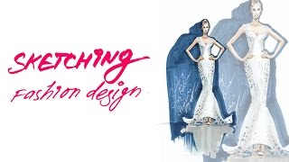 💃✍🏼FASHION SKETCH: рисую свадебное платье маркерами/Drawing Wedding Dress with markers