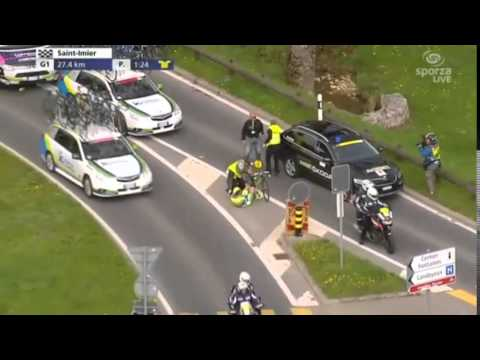 Svein Tuft and Jesper Hansen Car Crash Tour de Romandie ...