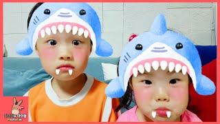 상어가족 상어송 동요 율동 부르기 미니 유니 함께 미유송 도전 ♡ 귀여운 아기 상어 노래 Shark Baby Family Kids Song | 말이야와아이들 MariAndKids