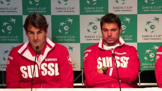 Roger Federer @ press conference / draw before Davis Cup tie Netherlands - Switzerland