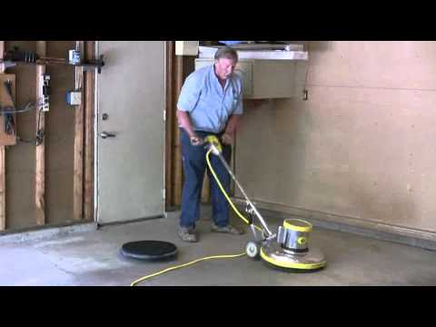 Painting a garage floor part 2 how to use a rotary for Scrubbing concrete floors