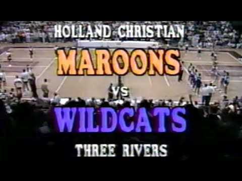1990 Three Rivers Vs Holland Christian High School Basketball Michigan State Quarterfinals FULL GAME