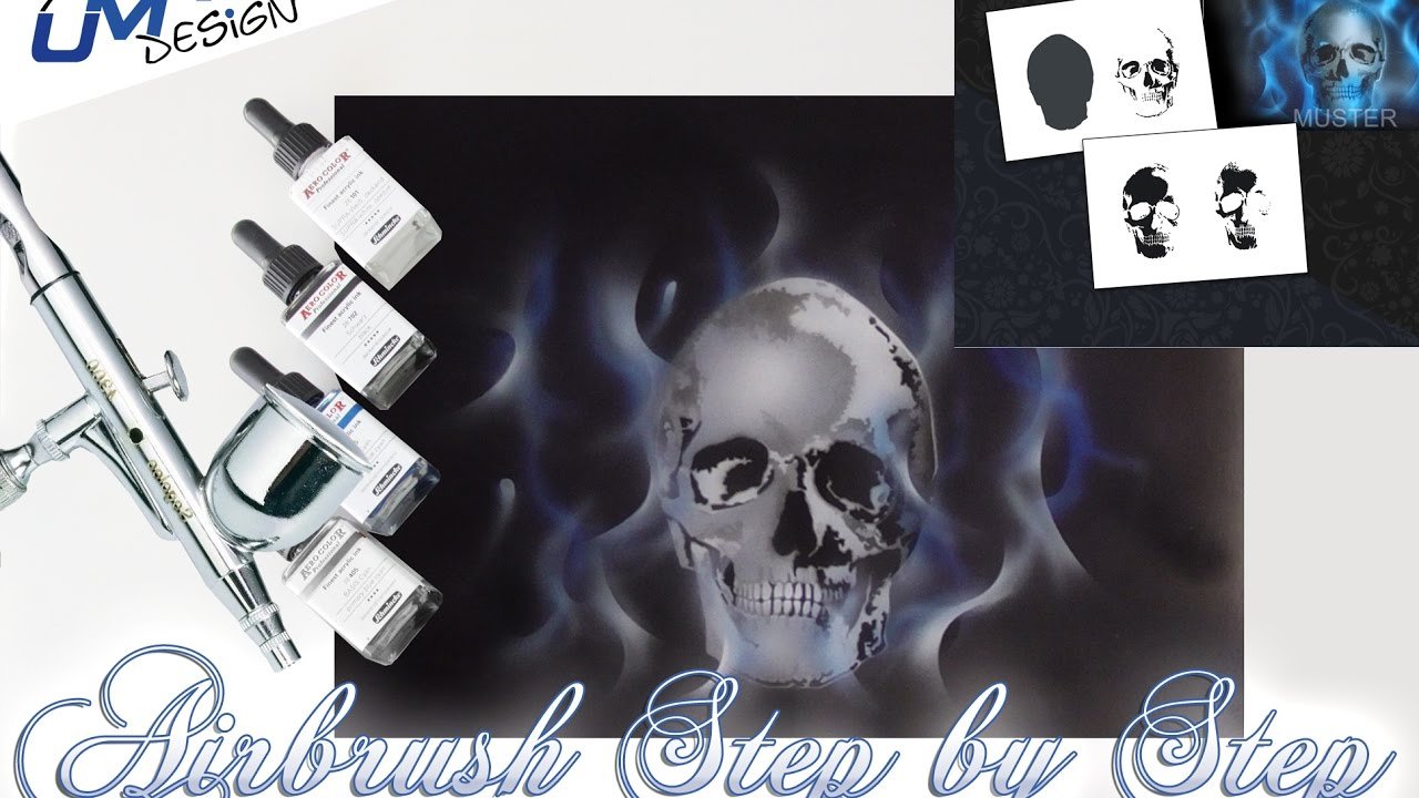 UMR-Design AS-204 Flameskull Pik Airbrushstencil Step by Step Size S