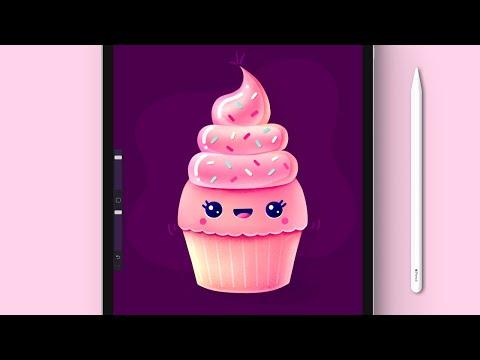 How To Draw A Cute Kawaii Cup Cake In Procreate | iPad Pro