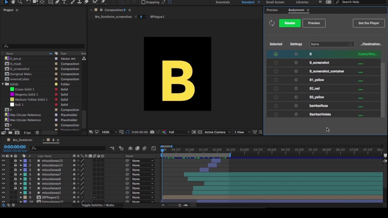 How to export an animation with Bodymovin