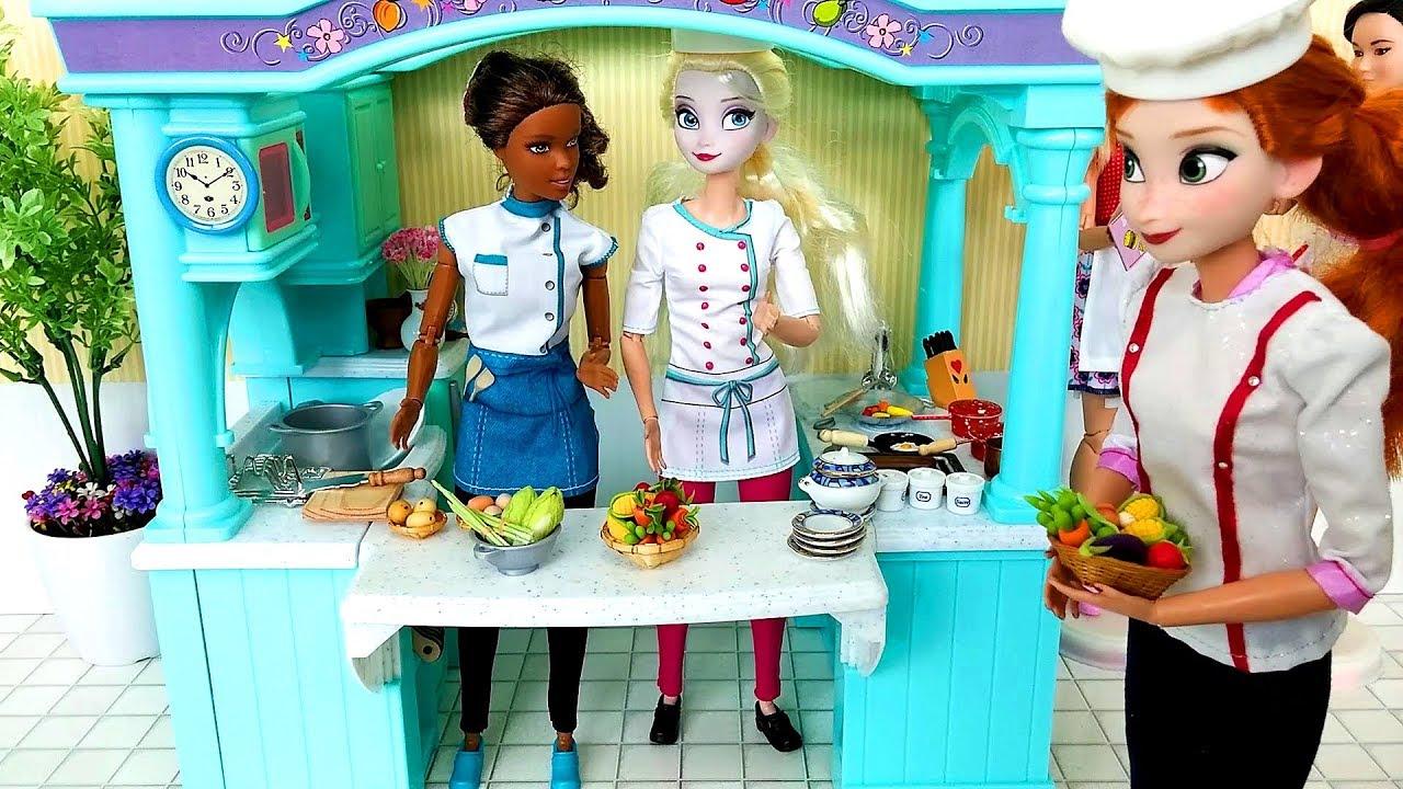Elsa Anna Barbie Mega Kitchen Chef Cooking & I Can Be Restaurant ...