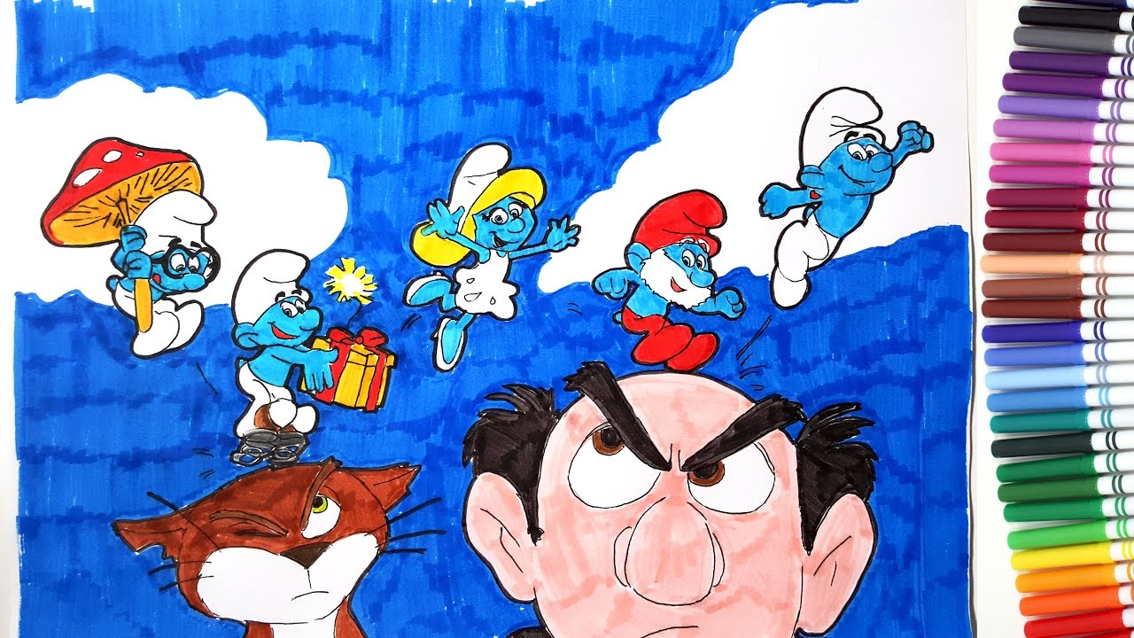 SMURFS THE LOST VILLAGE Movie Smurfette Papa Smurf Gargamel Coloring Pages Book Video For Kids