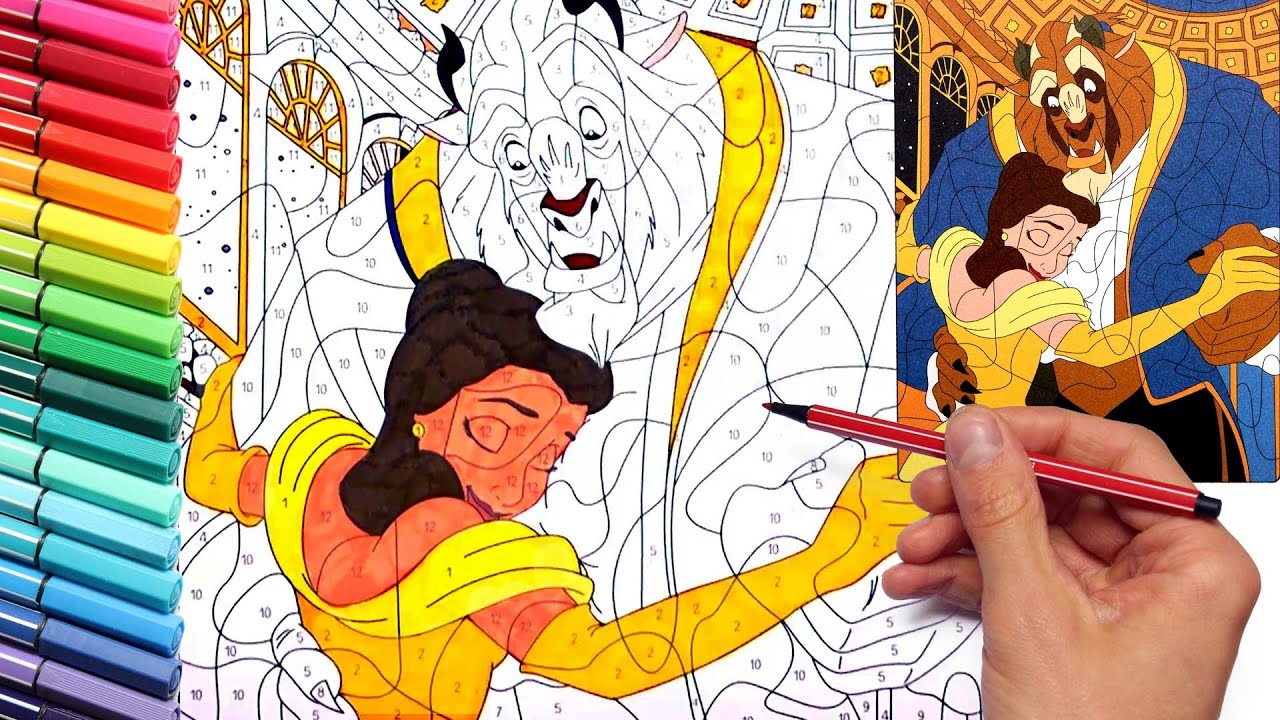Coloring Pages Using Numbers : Coloring page beauty and the beast disney learning colors with