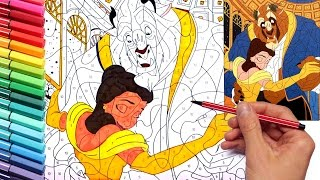 Coloring Page Beauty and the Beast Disney - Learning Colors With Painting Case Numbers