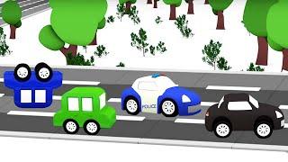 4 машинки устроили гонки Мультики для малышей Черная Машинка хулиганит на детской площадке