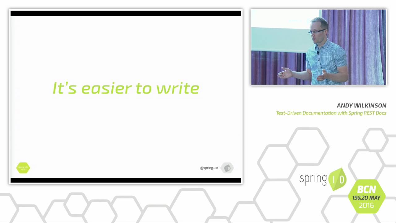 Test-driven documentation with Spring REST Docs - Andy Wilkinson @ Spring  I/O 2016