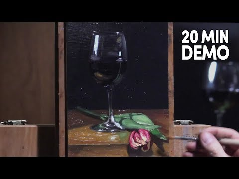 Tulip and red wine in a glass, liquid and flower painting demo by Aleksey Vaynshteyn