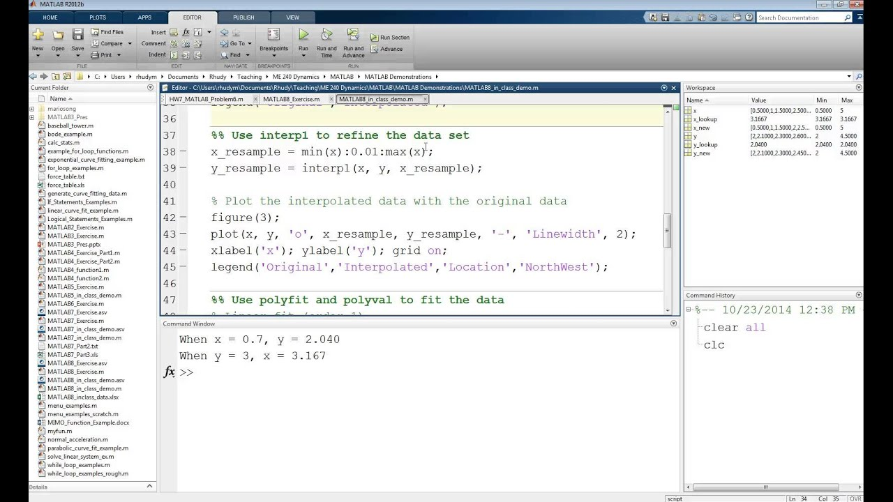 MATLAB Tutorial Lesson #08: Interpolation and Polynomial Curve Fitting