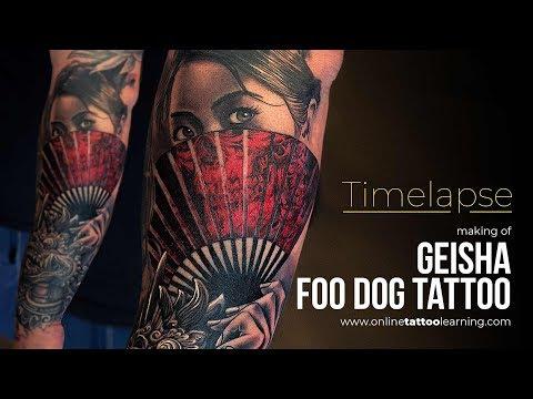 Tattoo Timelapse Making Of Geisha Foo Dog Tattoo Youtube