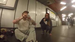 Girl joins rapper in the subway for an impromptu jam session (INFIDELIX ft. EllandM)