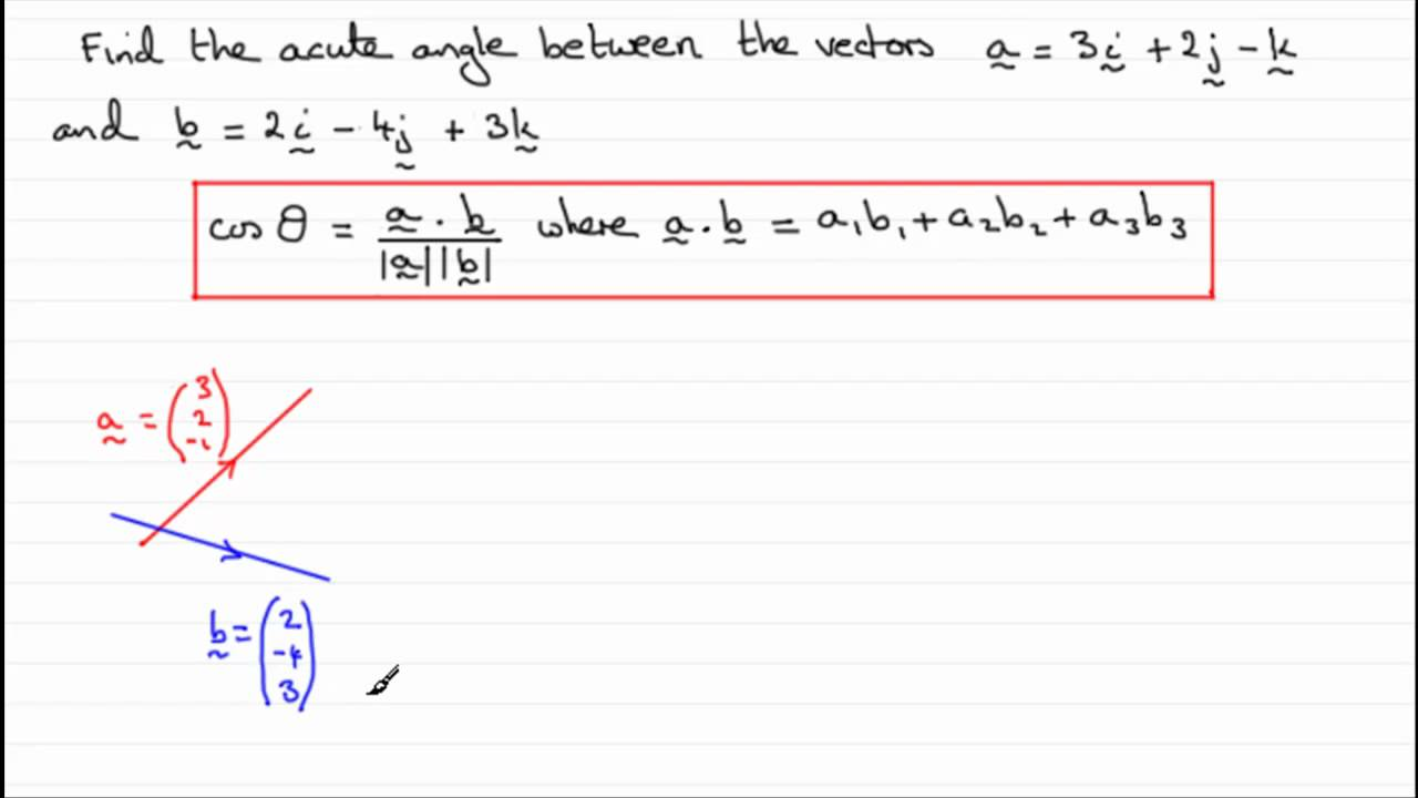 Vectors Scalar Or Dot Product Examsolutions Youtube