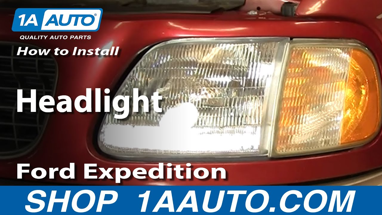 how to install replace headlight ford f150 expedition 97 03 youtube. Black Bedroom Furniture Sets. Home Design Ideas