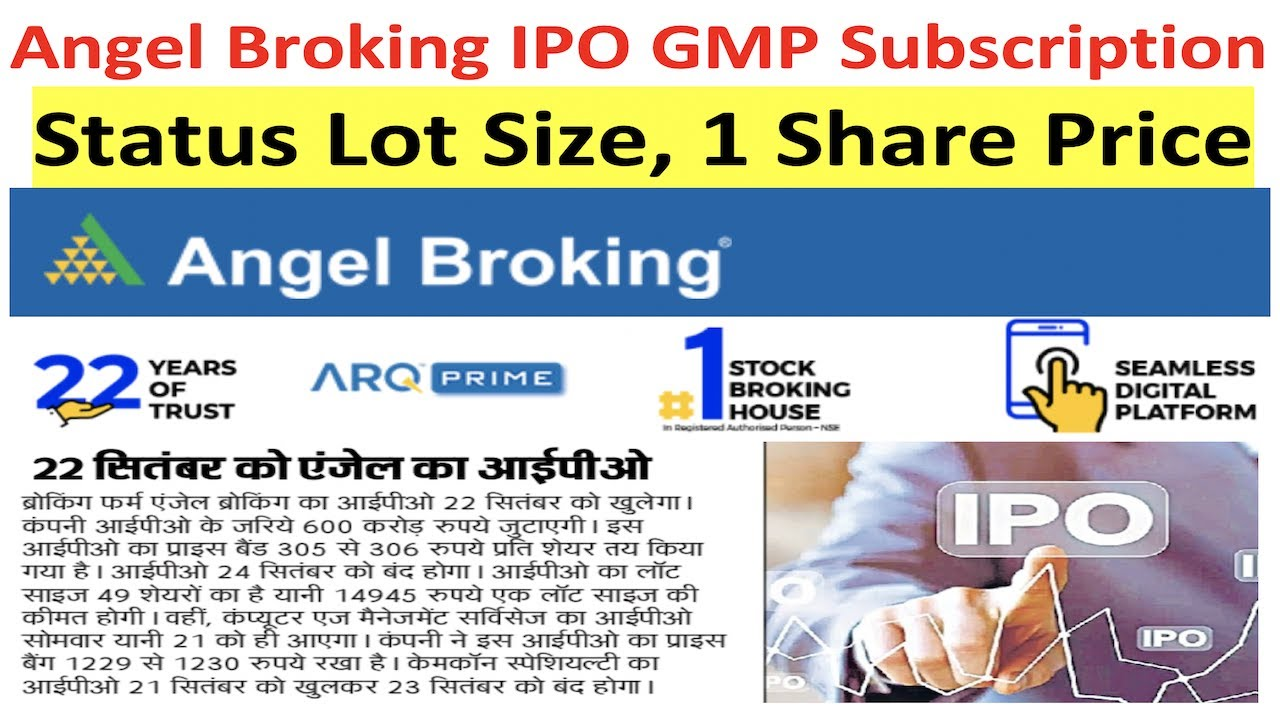 Angel Broking Ipo Gmp Subscription Status Lot Size 1 Share Price Youtube