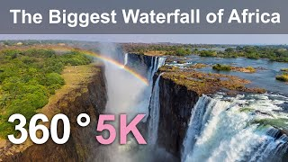 360 video, Victoria Falls. The Biggest Waterfall of Africa. 5K aerial video in English