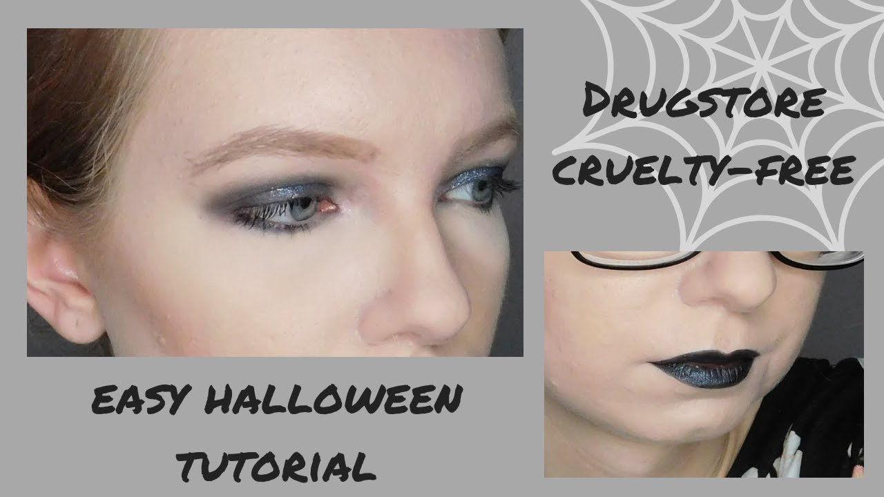 DRUGSTORE HALLOWEEN TUTORIAL | Grey Smokey Glitter Eye & Black Lips