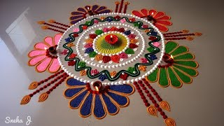 Beautiful free hand rangoli design |