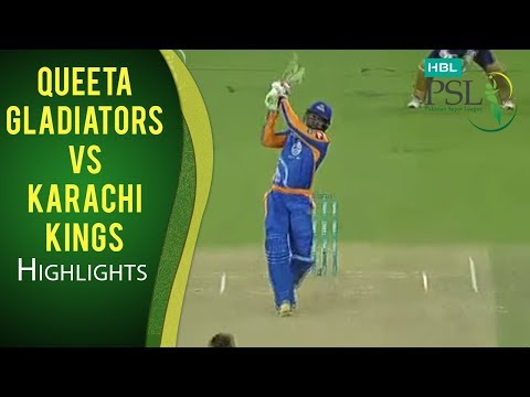 PSL 2017 Match 5: Quetta Gladiators  v Karachi Kings Highlights