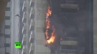 285-meter Sulafa Tower on fire in Dubai