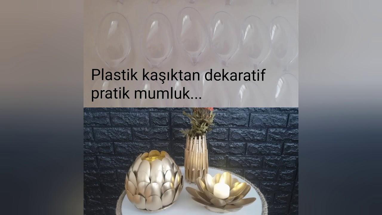 Plastik Kaşık ve Cam Kavanozdan Şık Dekor Mumluk/dekor/DIY/Geri Dönüşüm/Ev İşi Atölyem