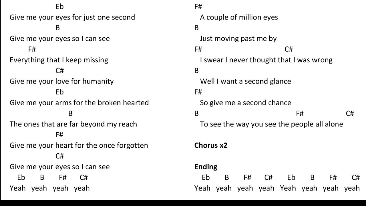 Give Me Your Eyes Brandon Heath Chords Youtube