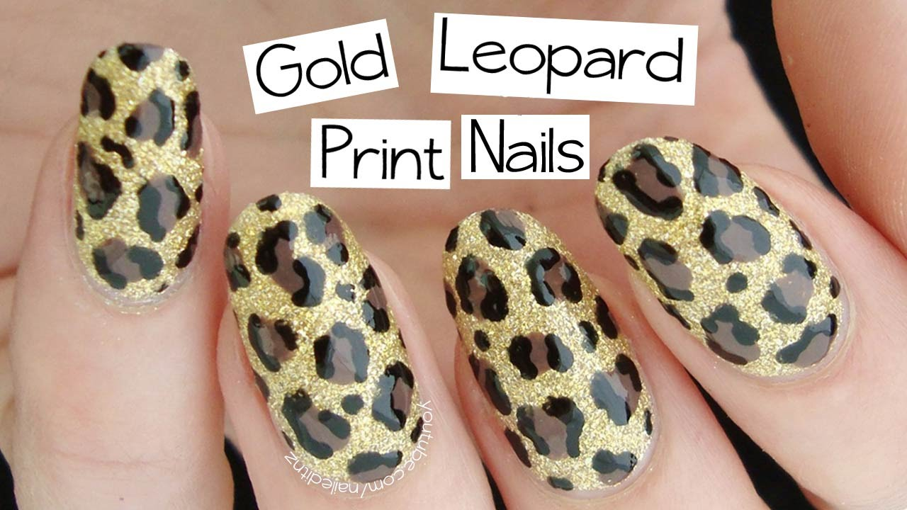 Beginner\'s Nail Art | Gold Leopard Print - YouTube