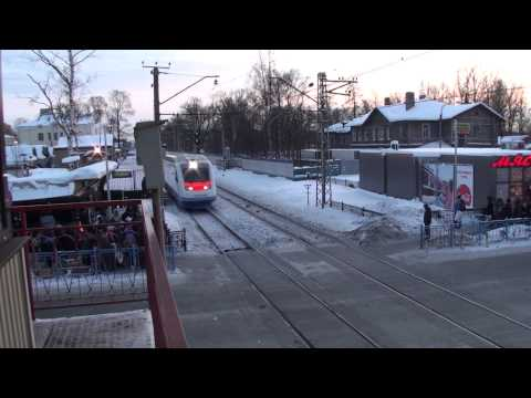 RZD-VR Allegro speed train 105km-h before it slipped stupid guy part-1