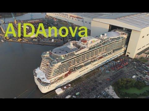 4K   Ausdocken AIDAnova mit spektakulären Luftaufnahmen   Meyer Werft 21.8.18