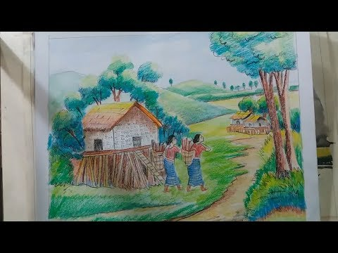 how to draw scenery of beautiful hilly landscape step by step with color pencil and oil pastel