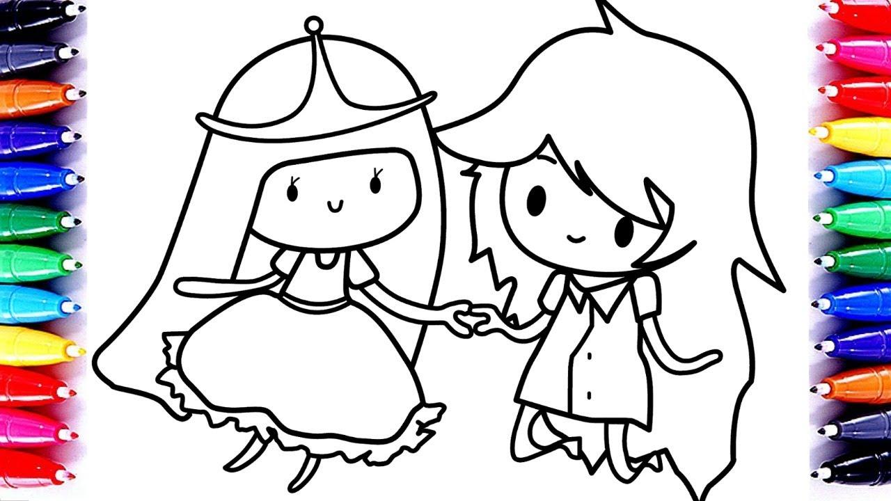 Learn Art| Adventure Time Princess Bubblegum and Marceline Coloring ...
