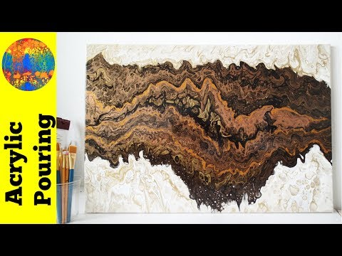 Double Dirty Acrylic Pour Painting on a Large Canvas - Strata