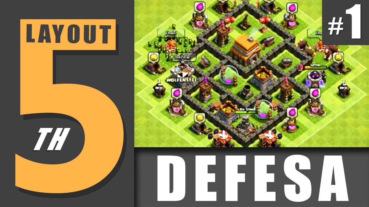 LAYOUT CV 5 - DEFENSE #1  TOWN HALL LEVEL 5 - DEFENSE #1  CLASH OF
