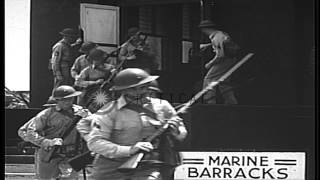 U.S. Marines train for base defense, at Pearl Harbor Naval Station, prior to U.S....HD Stock Footage