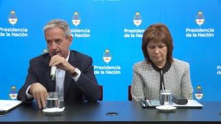 Declaraciones a la prensa de los ministros Patricia Bullrich y Andrés Ibarra
