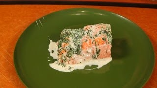 Salmon Baked In Cream With Sweet Bay, Thyme & Dill
