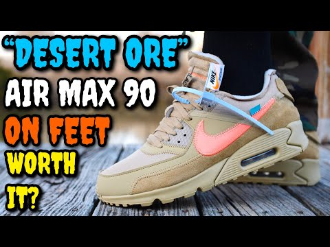 """WORTH $500? """"DESERT ORE"""" OFF-WHITE AIR MAX 90 ON FEET REVIEW! BEST OFF-WHITE SNEAKER OF 2019?"""