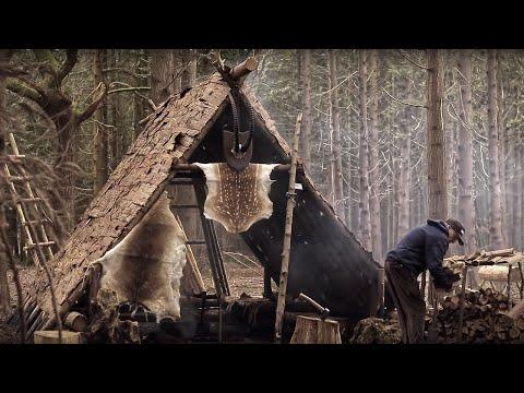 Bushcraft Viking House - Meat, Fish, Fire, Knife, Axe   VIKING FEAST