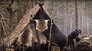 Bushcraft Viking House - Meat, Fish, Fire, Knife, Axe | VIKING FEAST
